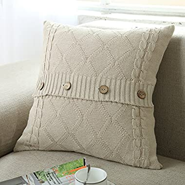 U'Artlines Cotton Knitted Decorative Pillow Case Cushion Cover Cable Knitting Patterns Square Warm Throw Pillow Covers (Cream, 18x18)