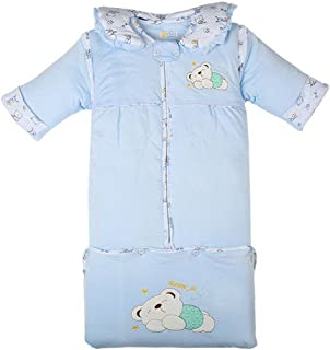 Fairy Baby Thick Sleeping Bag 3.5 Tog Wearable Blanket with Detachable Sleeves,1-3Years,Blue