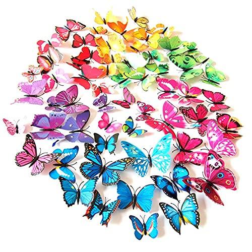 J&J Trader 96 adhesivos decorativos de pared con diseño de mariposas en 3D para nevera, pegatinas 3D
