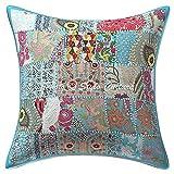 Stylo Culture Cojines Decorativos étnicos para la Cama Patchwork Turquesa Floral Couch Pillow Cover 16 x 16 Cuadrado de algodón Tradicional Abstracto 60x60 cm Fundas de cojín (1 Pieza)