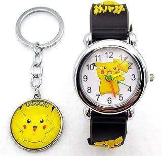 14a8eff4 Pokemon Kids Watch Pikachu Watch and Matching Keychain, Silicone Wristwatch  Gift Set for Kids,