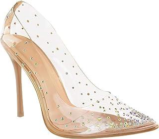 Fashion Thirsty Mujer Sandalias Tacón Alto Perspex Claro Zapatos de Salón en Punta Tiras por Heelberry
