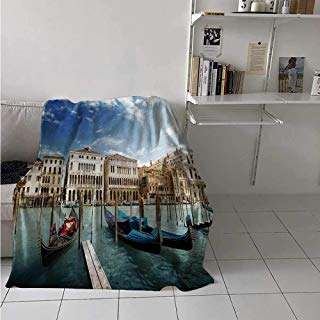 maisi Italian Custom Design Cozy Flannel Blanket Gondolas in The Venetian Adriatic Lagoon Historical Venezia Photo Lightweight Blanket Extra Big 70x60 Inch Blue Sand Brown Almond Green