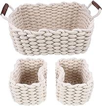 SWZJJ Storage Basket 3pcs Soft Nesting Baskets Simple Gift Baskets Versatile Storage Boxes (Color : Beige)