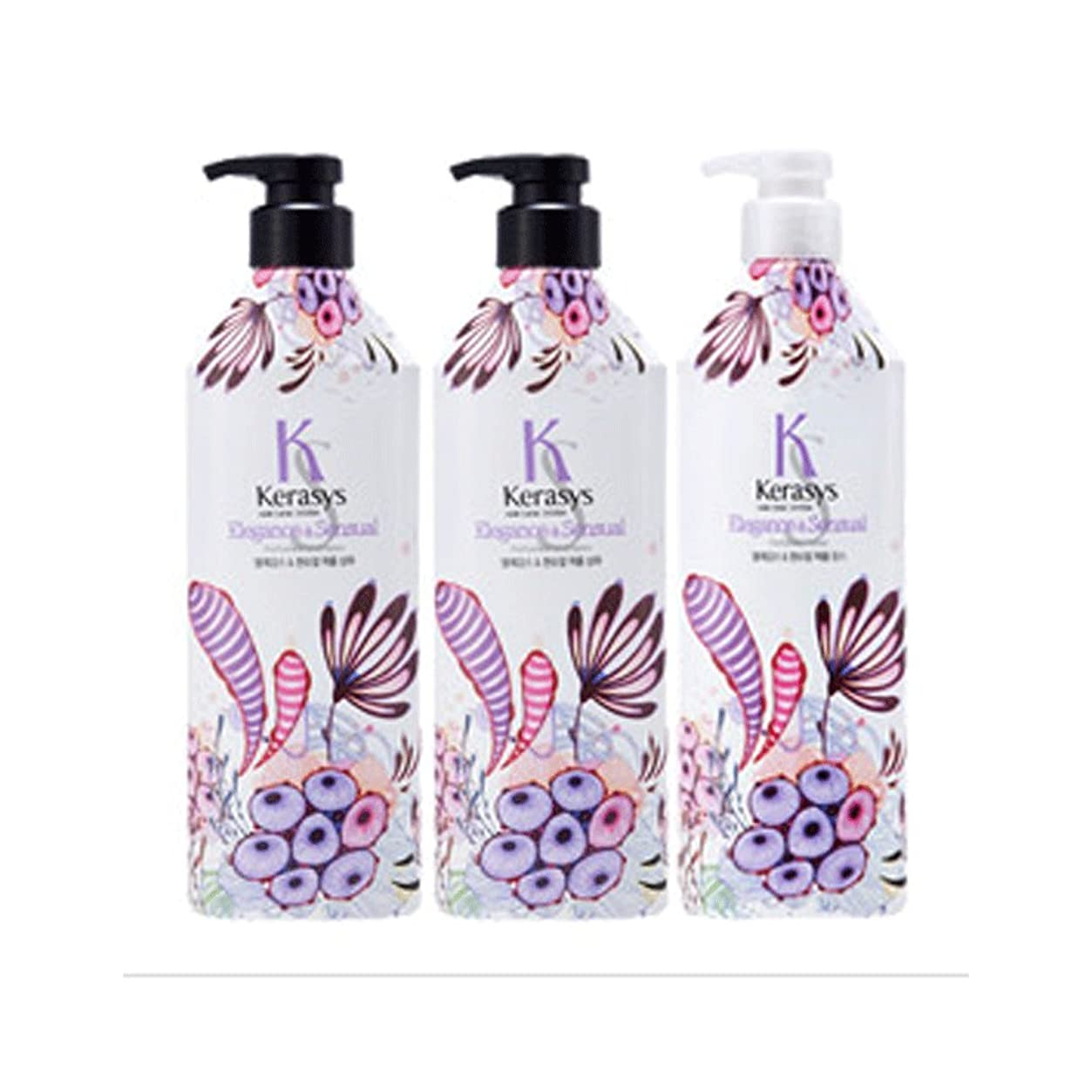 一リス保証Kerasys Perfume Elegance and Sensual 600ml 3pcs Shampoo, Conditioner 600ml 合計3つ (Shampoo (2PCS)+Conditioner (1PCS))
