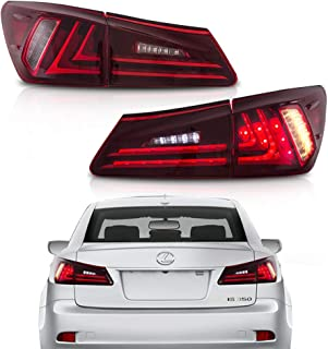 MOSTPLUS Tail Lights For Lexus IS350 IS250 2006-2012 (Set of 2) (Red Clear)