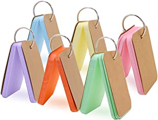 Koogel 300 Pieces 2.2 x 3.5 Inches Multicolor Kraft Paper Binder Ring Easy Flip Flash Card Study Cards/Memo Scratch Pads/B...