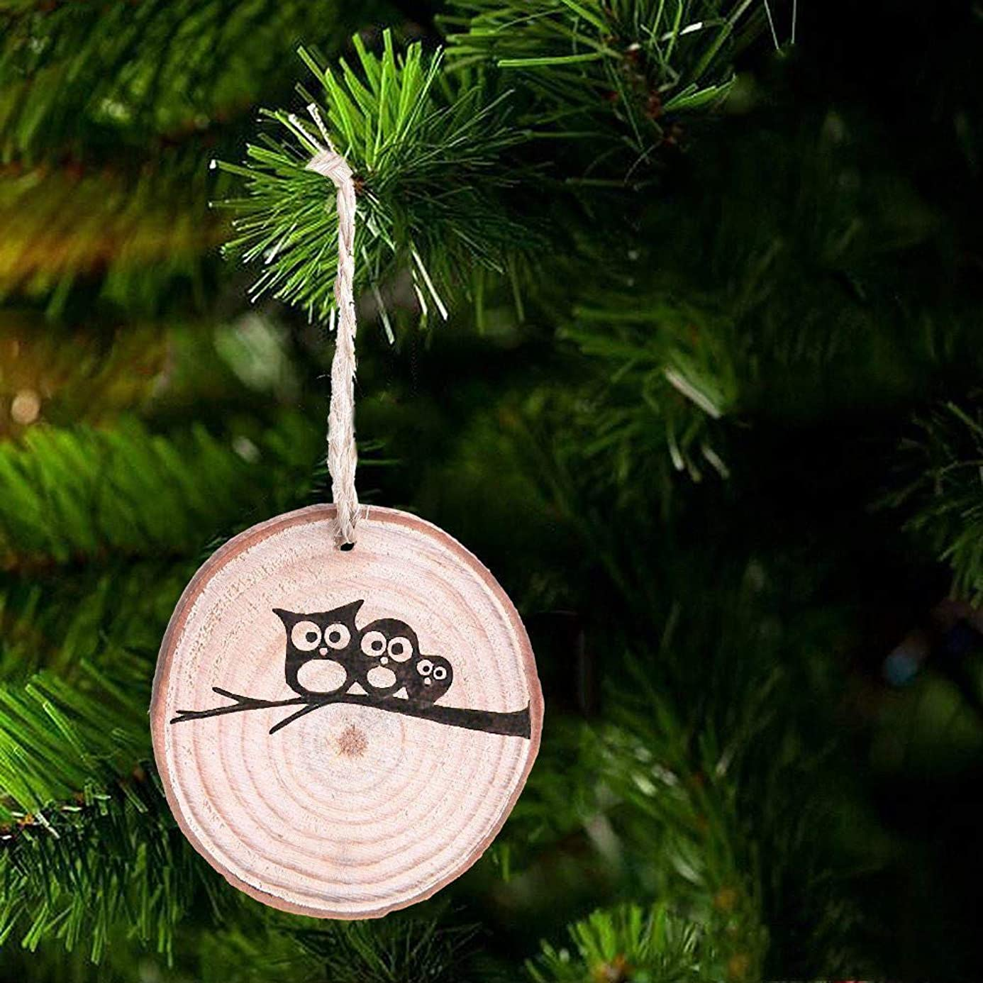 Iusun Christmas Tree Decoration Wooden Rounded Pine Chips Hanging Xmas Tree Waterproof Pendants DIY Ornament Wedding Party Holiday New Year Decor- Shipping From USA (Brown)