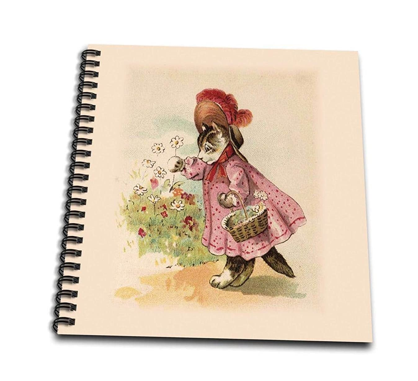 3dRose db_38106_1 Cute Victorian Cat in Pink Dress-Drawing Book, 8 by 8-Inch p2907339324