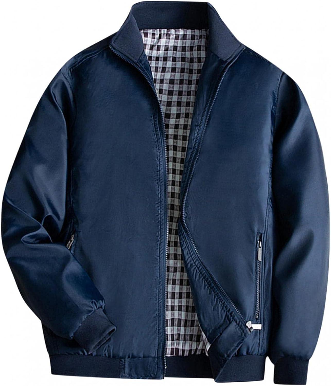 Huangse Men's Waterproof Bomber Jacket Thin Plaid Lined Varsity Baseball Jacket Athletic Shell Sportswear Coat