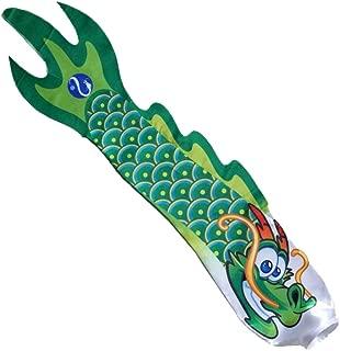 Fityle 5 Style 70cm Chinese Dragon Windsock Carp Flag Kite Streamer Boat Decor Ornament Hanging Flag - Green, 70x13cm