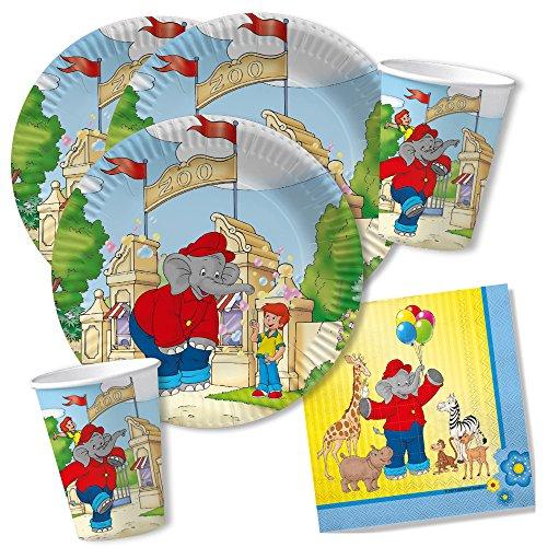 DH-Konzept 36-teiliges Party-Set - Elefant Benjamin Blümchen - Teller Becher Servietten für 8 Kinder