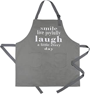 CRJHNS Aprons for Women, Men Kitchen Chef Apron with 2 Pockets - Extra Long Ties, 100% Cotton Canvas Bib Apron for Cooking, Baking, BBQ - 32x28inch (Grey)