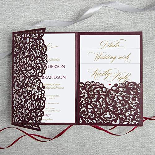 50 Cards Pack Wedding Invitations with Envelopes Laser Cut Cards Tri Fold Burgundy Marsala Wine Pocket with RSVP Elegant and Lace DIY kit