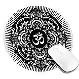 Alfombrilla de ratón Redonda, Estilo de Arte de Tatuaje de Henna Monocromo Mandala Símbolo de armonía étnica Mehndi Redonda, Alfombrilla de ratón Antideslizante para Juegos