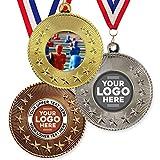 Trophy Monster Paquete de 10 medallas y cintas de metal de 50 mm, diseño de estrella de fútbol de mesa, emblema estándar o su logotipo, personalizable, paquete a granel, cantidad de 50,100,250 o 500