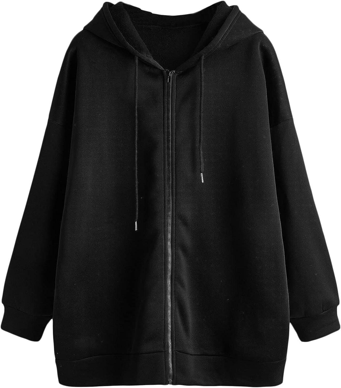 MakeMeChic Women's Plus Size Zip Up Long Sleeve Oversized Drawstring Hoodie