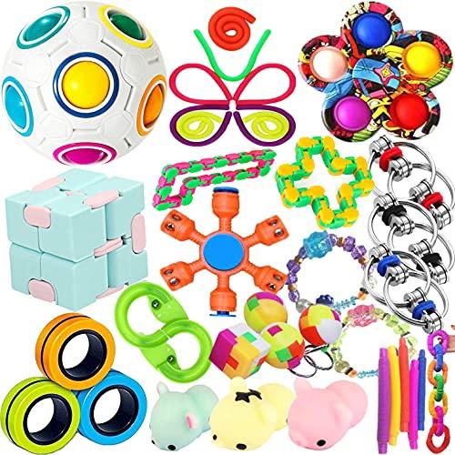 Fidget Toys - Lote de 30 juegos de juguetes Sensory para niños, adultos y DIY, dinosaurios, diseño de ánsito y ansiedad, 30 unidades