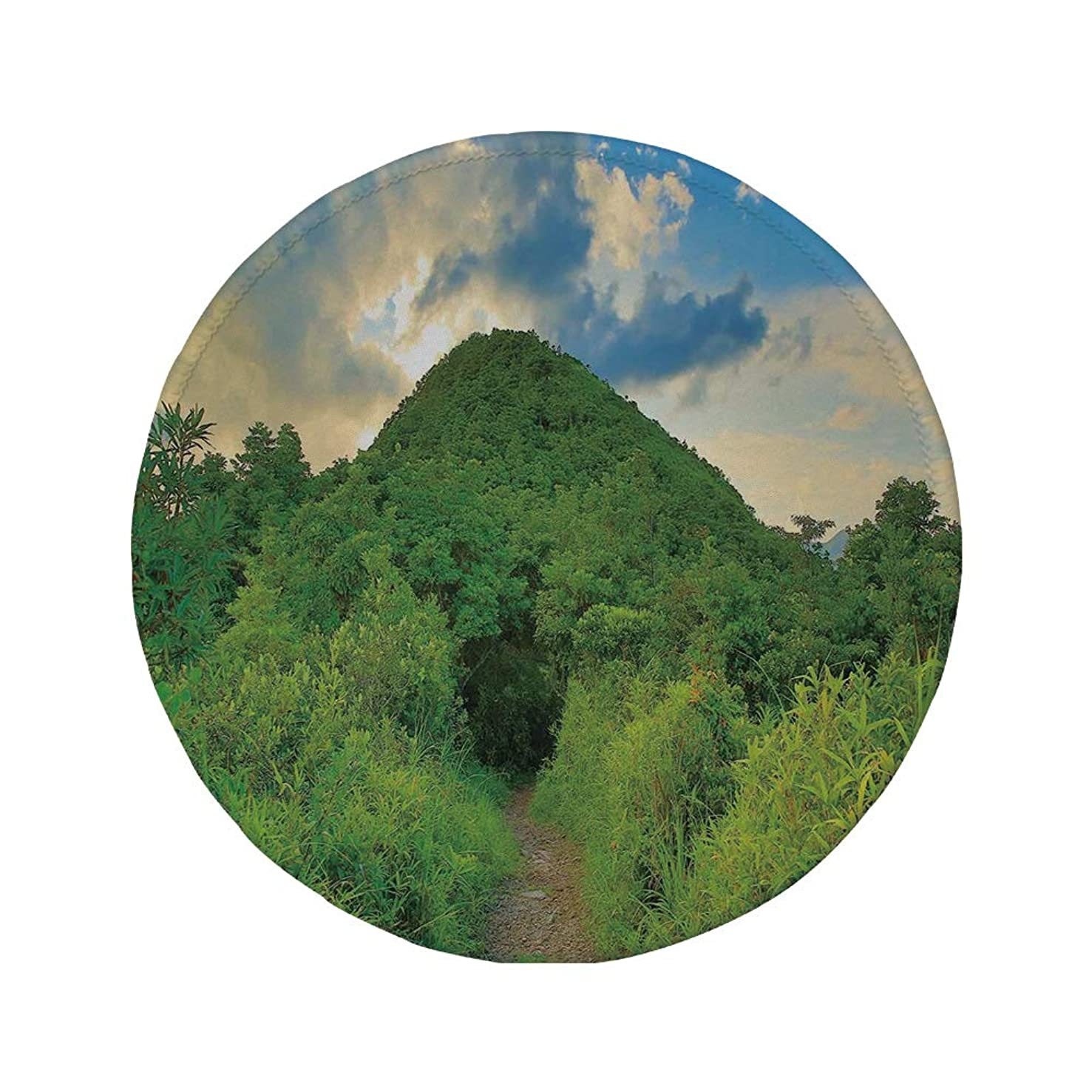 Non-Slip Rubber Round Mouse Pad,Nature,Mountain Path Covered by Trees Foliage Bushes Highland Woodland Landscape,Fern Green Sky Blue,11.8