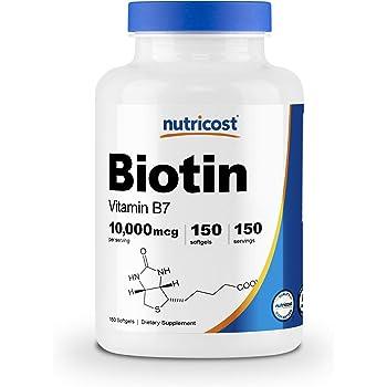 Nutricost ビオチン (10,000mcg)、150ソフトカプセル、オーガニックヴァージンココナツオイル配合、非GMO、グルテンフリー