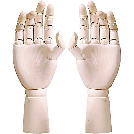 フェリモア ハンドマネキン デッサン人形 木製 ハンドモデル 関節可動 両手 (左右ペア セット) 左右ペアセット