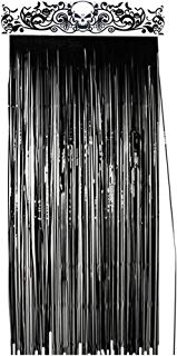 KUUQA Halloween Door Curtain Black Shiny Foil Party Decorations Entrance Door Curtain for Halloween, 3.3 x 6.5 feet