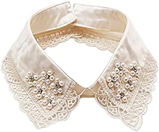 LANGUGU Detachable Blouse False Stand Collar Lace Pearl Rhinestones Flower Collar Choker Peter Pan Necklace