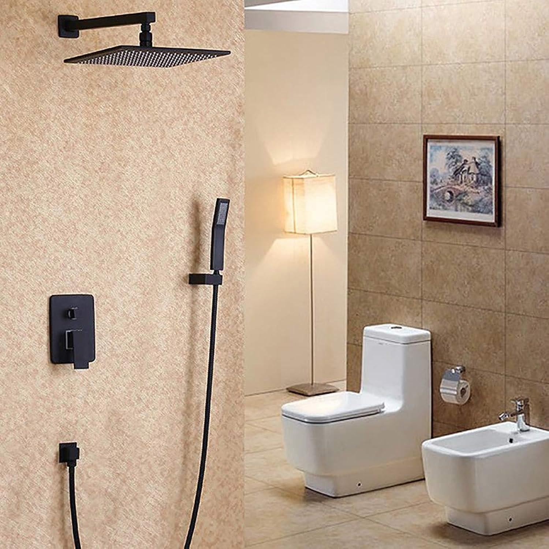 HUIJIN1 Bad Dusche Wasserhahn, In-Wand-Multifunktions-Duschset mit heiem und kaltem Wasser Badezimmer Luxus Regenmischer Dusche Combo Set, schwarz