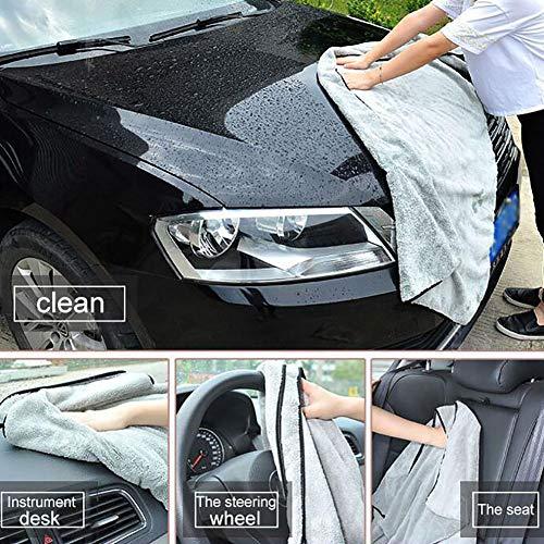 YSHtanj Auto-Reinigungstuch, Auto-Reinigungs- und Pflegehandtuch, super saugfähig, Auto-Reinigungstuch, schnell trocknend, Mikrofaser-Handtuch – Hellgrau, 40 x 60 cm
