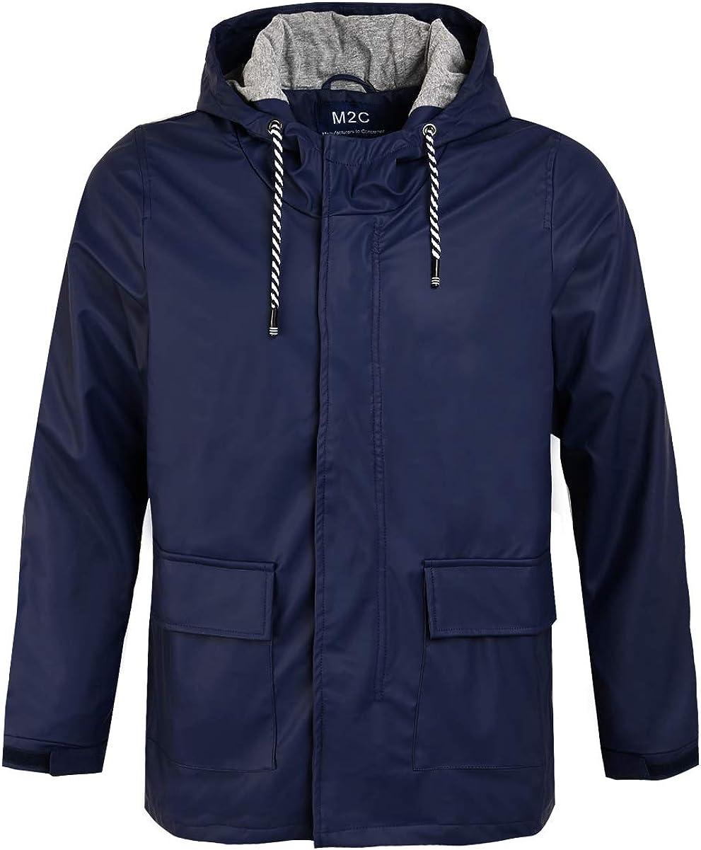 M2C Men's Hooded Cotton Lined Waterproof Rain Jacket