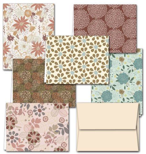 Note Card Cafe All Occasion Greeting Cards with Off White Ivory Envelopes   36 Pack   Floral Frenzy Designs   Blank Inside, Glossy Finish   for Greeting Cards, Occasions, Birthdays