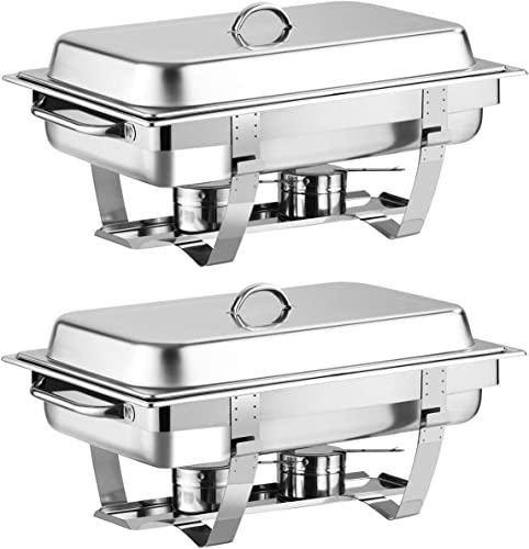 """high quality Giantex 2 Packs Chafing Dish 9 Quart online Chafer Dishes Buffet Set Stainless Steel Rectangular Chafing Dish Set Full Size with 2 Half sale Size Pan (23.5""""Lx 14""""Wx12""""H (9 Quart)) outlet online sale"""