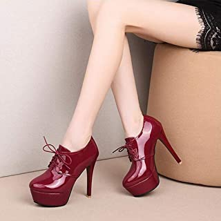Platform Stiletto Ankle Boot Bootie, Lace Up Closed Toe Sexy PU Short Boots
