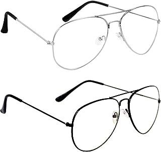 Dervin Unisex Aviator Sunglasses (55, Clear) - Combo of 2