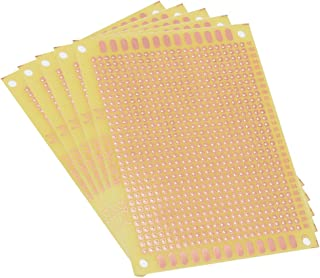 uxcell 7x9cm Single Sided Universal Printed Circuit Board Coppered for DIY Soldering Yellow 5pcs