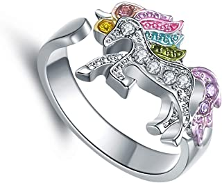 Unicorn Jewelry for Girls Gifts for Granddaughter Adjustable Unicorn Ring Gifts Silver Tone Rainbow Unicorn