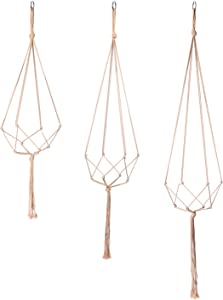 POTEY 630202 Macrame Plant Hangers - Simple Design Indoor Outdoor Plant Pot Hangers,Hanging Plant Holder Handmade Cotton Rope for Home Decor 3 Pack, 4 Legs,35''/40.5''/47'', Brown