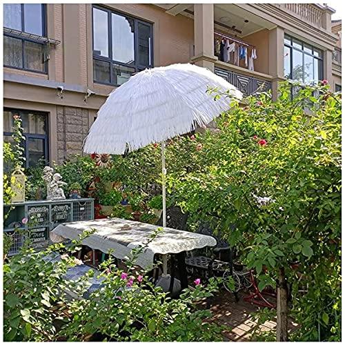 QDY Große Terrasse Tiki Regenschirme 7,8 ft, Weißer Strohdach Regenschirm Hawaii Sonnenschirm Regenschirm Strand Regenschirm Wasserdichter Regenschirm Outdoor für Restaurant Hostel Park Beach