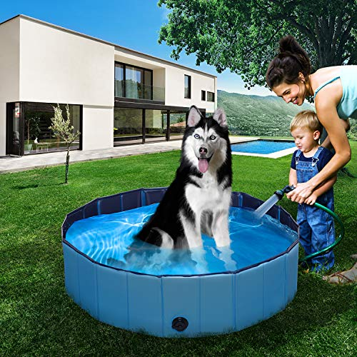 """XX Large/Large Foldable Pet Dog Bath Tub Swimming Pool Collapsible Puppy Cat Indoor Outdoor Bathing Tub Swimming Pool for Dogs Cats and Kids 63"""" x 12"""" / 47"""" x 12"""" (Large(New))"""