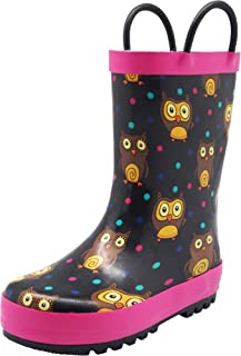 NORTY Girls' Rain Boots - Waterproof Solid & Printed Rubber Rain Boots for Toddlers & Big Kids