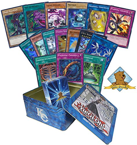 200 Yugioh Card Lot - Featuring Yugioh Holo Cards! Comes in Yugioh Tin! Includes Golden Groundhog Deck Box!