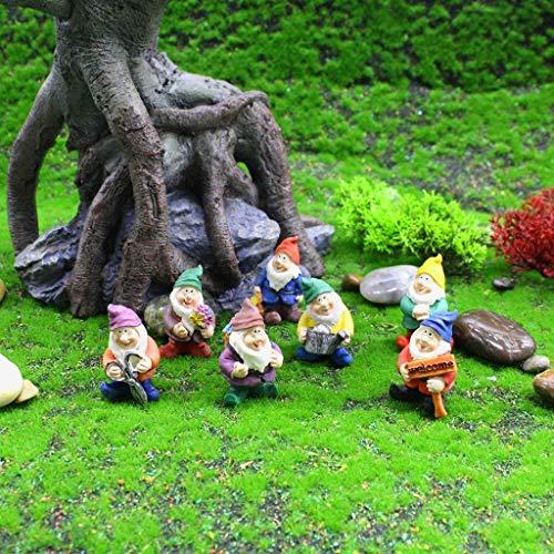 Olgaa Seven Dwarfs Decoration Gnome Figurine Novelty Garden Ornaments Fairy Garden Accessory Disney Traditional Statue Decorations Micro Landscape Decoration