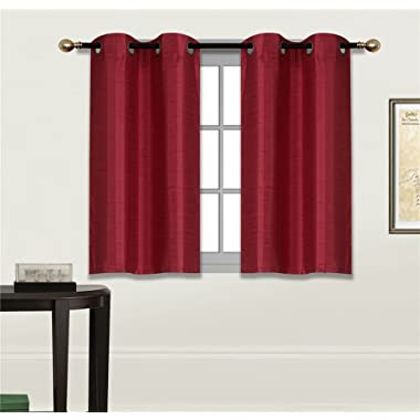 Elegant Home 2 Panels Tiers Grommets Small Window Treatment Curtain Faux Silk Semi Sheer Drape Short Panel 28  W X 36  L Each for Kitchen Bathroom or Any Small Window # N25 (Burgundy)