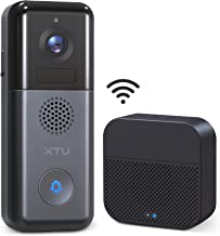 WiFi Video Doorbell Camera, XTU 2K Wireless Rechargeable Battery/Hardwired Powered Doorbell Camera with Wireless Chime(Bat...