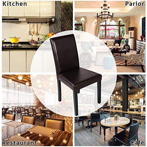 Yaheetech Dining Chairs Side PU Cushion Chairs with Waterproof Surface and Wood Legs for Kitchen Restaurant and Living Room, Set of 4, Brown