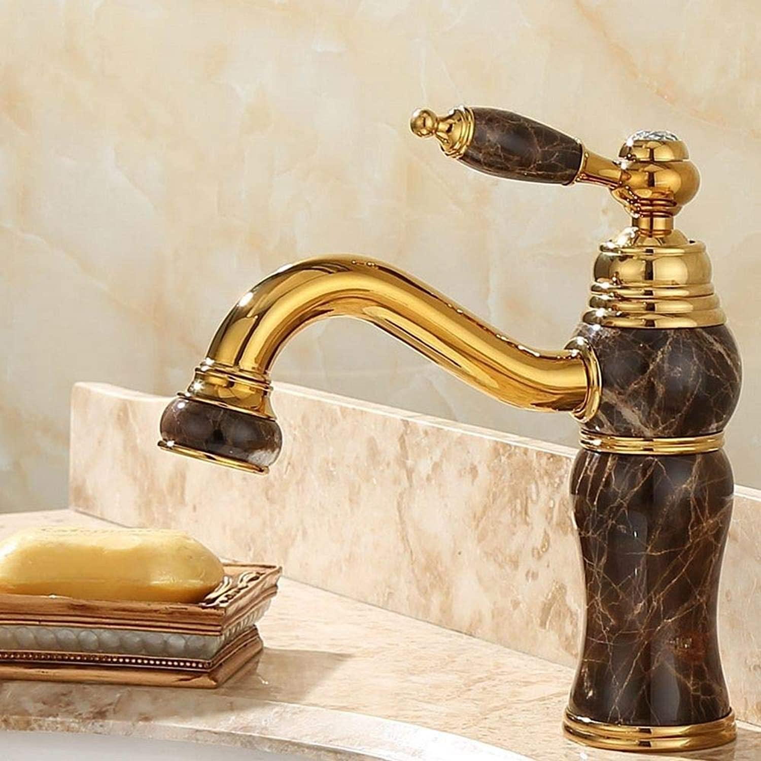 Rmckuva Bathroom Sink Taps Basin Faucet Modern Single Handle Faucet Brass Mixer Curved Mouth Jade Faucet Black - Hz4