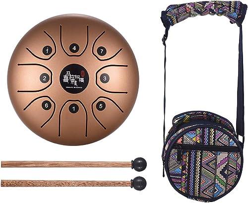 Muslady 5,5 pouces Mini 8 tons Tambour de langue en acier Instrument à percussion à clé C Main Pan Drum avec baguette...