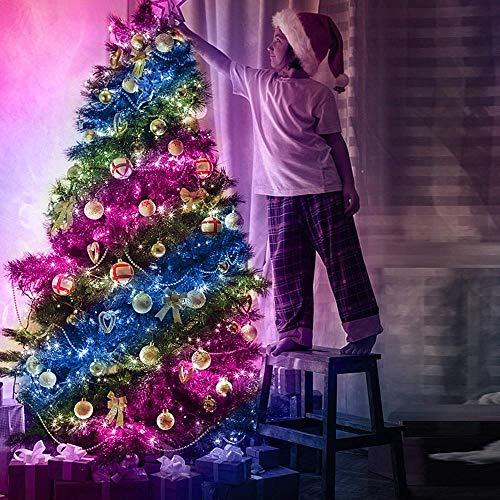 Luces de Colores LED RGB USB Smart Impermeable Bluetooth Cadena de luz de Alambre de Cobre con aplicación de música Control Remoto para iluminación de árboles de Navidad-RGB_10 Metros 100 Luces f