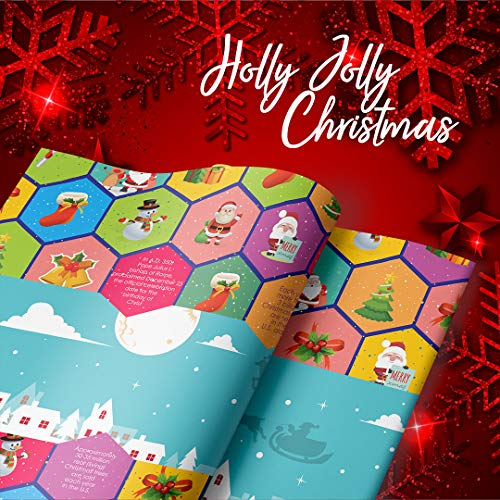 eVincE 30 Christmas Gift Wrapping Paper Santa Carnival Sleigh 8 Reindeer Colorful Xmas Gifting Wrapper   for Kids Men Women Hanukkah New Year Family Office Gifts   Recyclable Large Sheets 70 x 50 cms