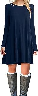 MOLERANI Women's Casual Plain Simple Long Sleeve T-Shirt Loose Dress